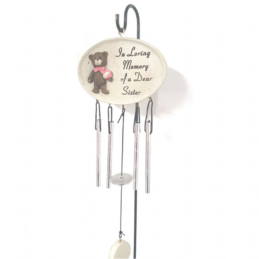 In Loving Memory Of A Dear Sister - Wind Chimes & Stake Memorial Grave Ornament By David Fischhoff